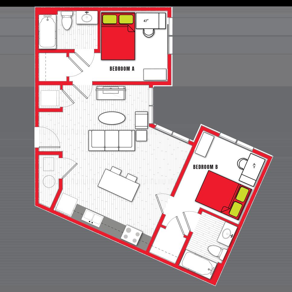 Stanhope Apartments floor plan 2c