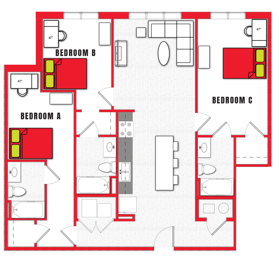 Stanhope Apartments floor plan 3c