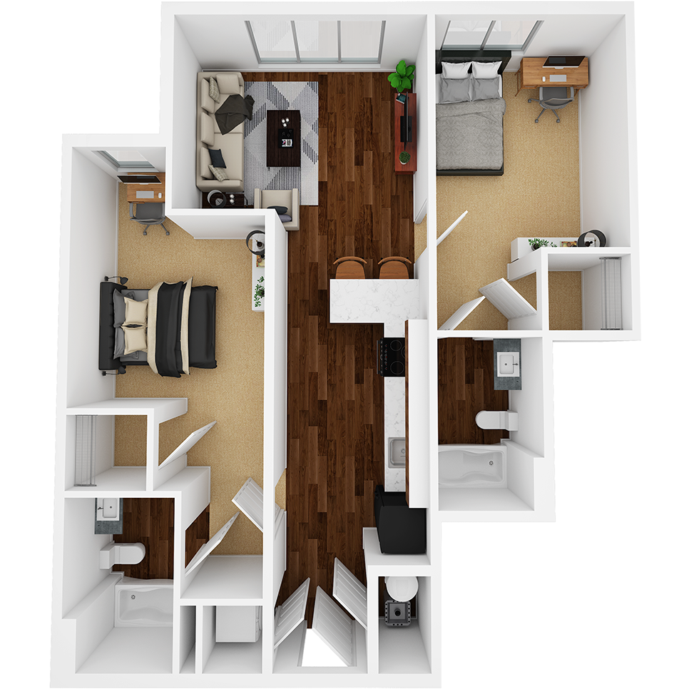 Stanhope Apartments floor plan 2B