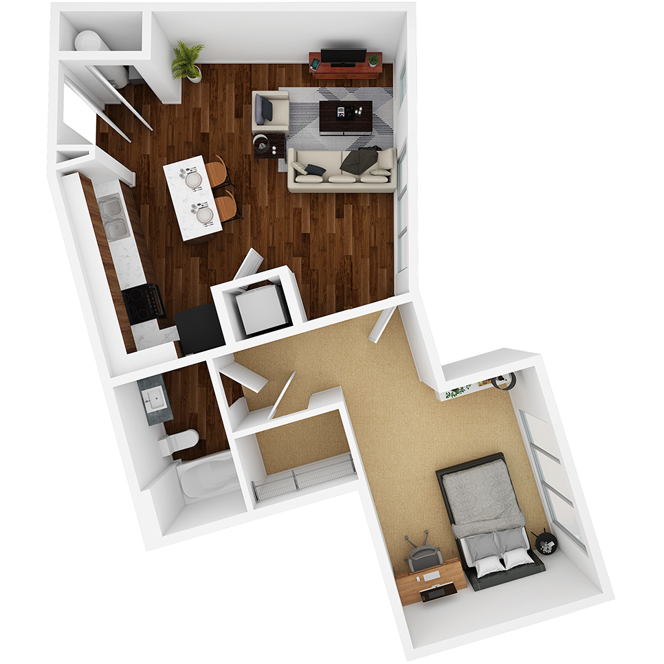 Stanhope Apartments floor plan 1B