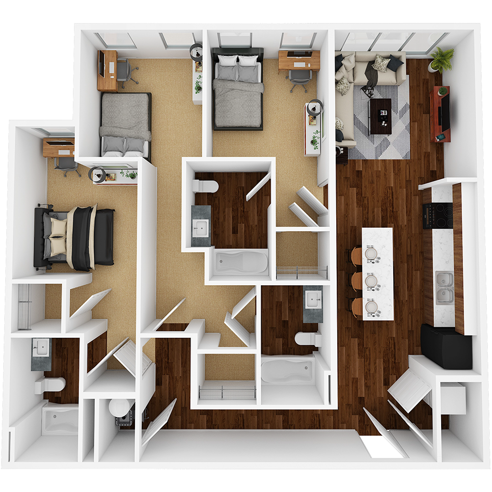 Stanhope Apartments floor plan 3A