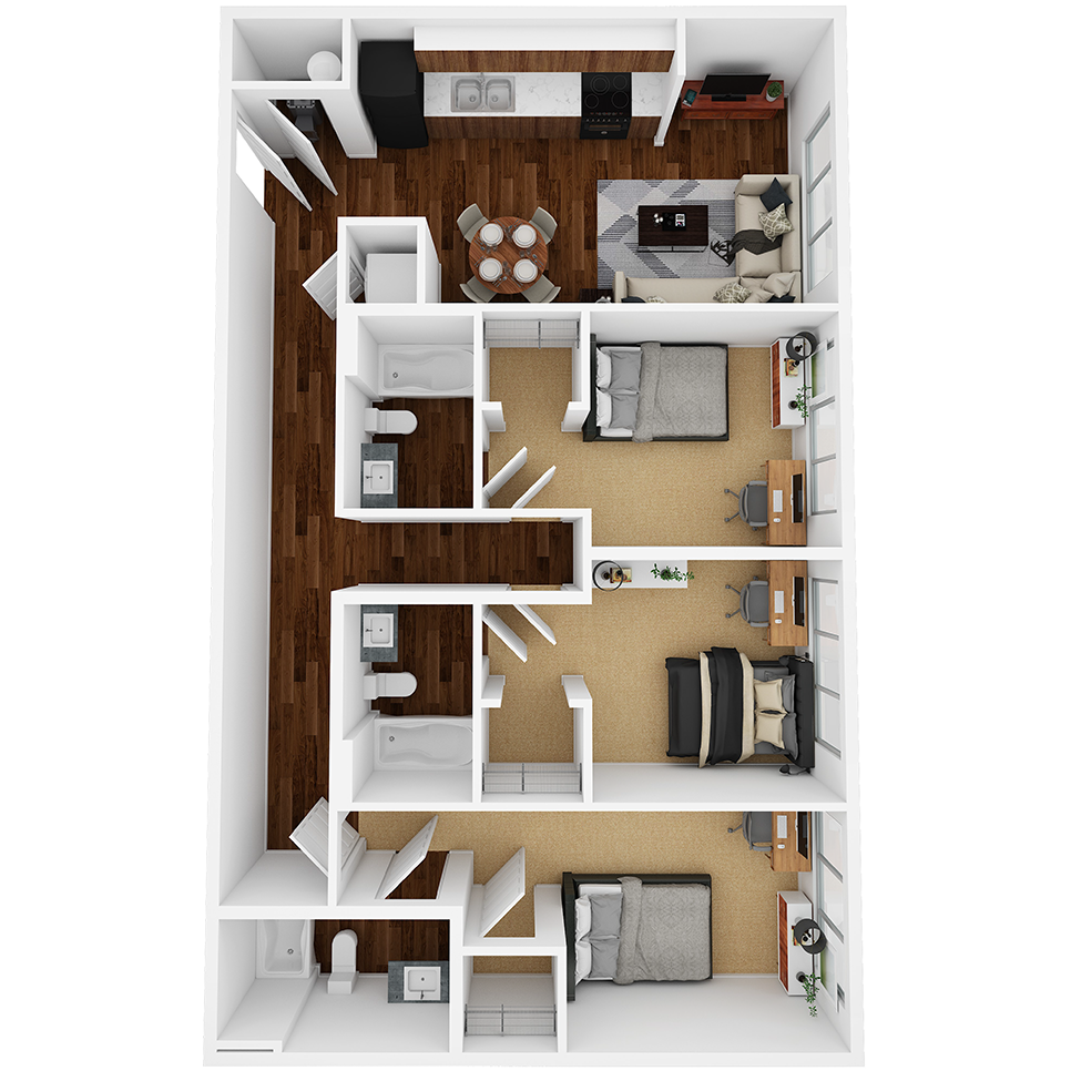 Stanhope Apartments floor plan 3B
